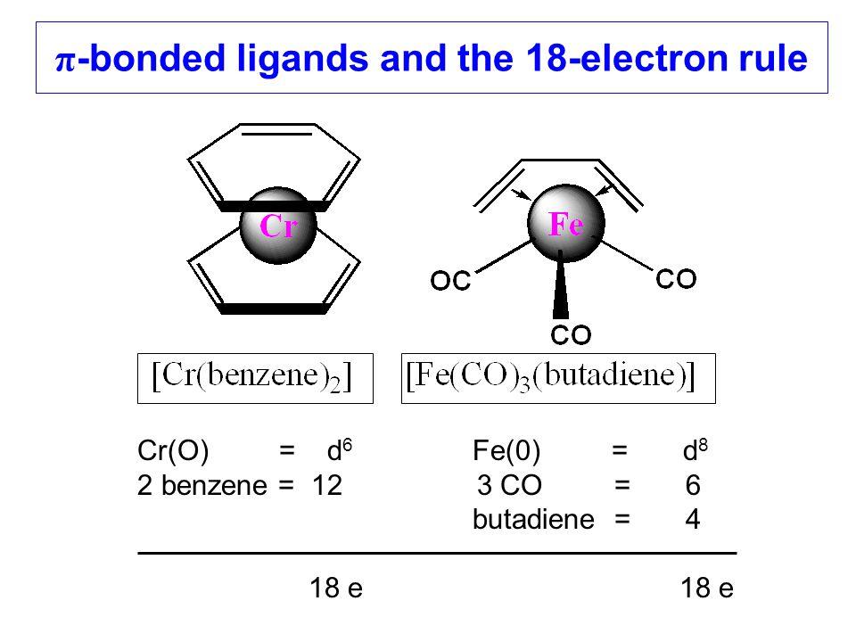 π -bonded ligands and the 18-electron rule Cr(O) = d 6 Fe(0) = d 8 2 benzene = 12 3 CO = 6 butadiene = 4 18 e