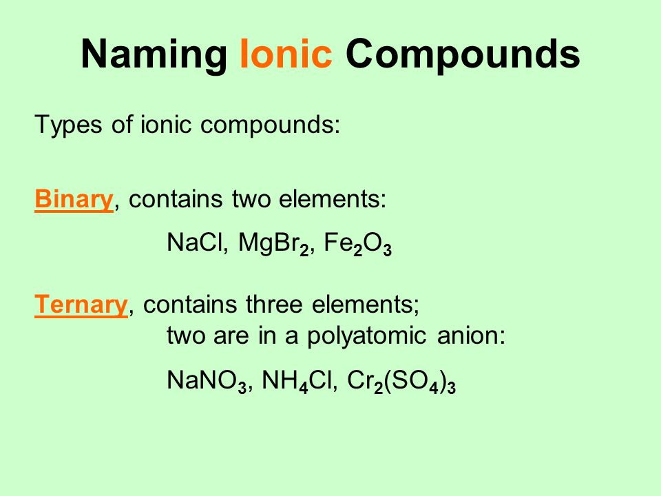 Naming Ionic Compounds Types of ionic compounds: Binary, contains two elements: NaCl, MgBr 2, Fe 2 O 3 Ternary, contains three elements; two are in a