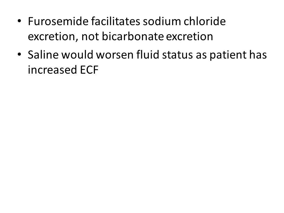 Furosemide facilitates sodium chloride excretion, not bicarbonate excretion Saline would worsen fluid status as patient has increased ECF