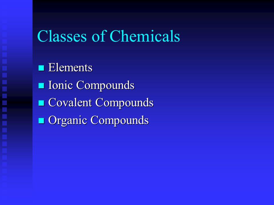 Classes of Chemicals Elements Elements Ionic Compounds Ionic Compounds Covalent Compounds Covalent Compounds Organic Compounds Organic Compounds