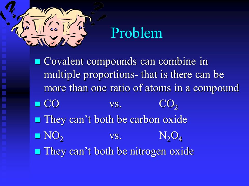 Covalent Examples CO = carbon oxide CO = carbon oxide CS 2 = carbon sulfide CS 2 = carbon sulfide NF 3 = nitrogen fluoride NF 3 = nitrogen fluoride Notice in each example the more electronegative atom is second and ends in -ide Notice in each example the more electronegative atom is second and ends in -ide