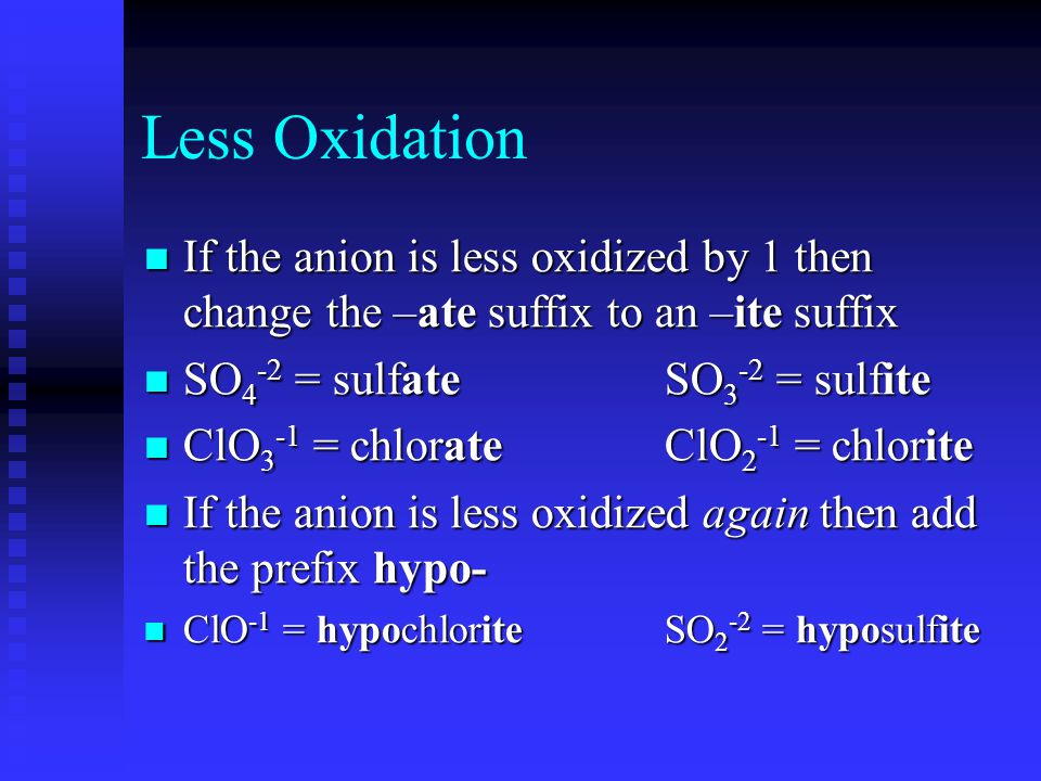 Less Oxidation If the anion is less oxidized by 1 then change the –ate suffix to an –ite suffix If the anion is less oxidized by 1 then change the –ate suffix to an –ite suffix SO 4 -2 = sulfateSO 3 -2 = sulfite SO 4 -2 = sulfateSO 3 -2 = sulfite ClO 3 -1 = chlorateClO 2 -1 = chlorite ClO 3 -1 = chlorateClO 2 -1 = chlorite If the anion is less oxidized again then add the prefix hypo- If the anion is less oxidized again then add the prefix hypo- ClO -1 = hypochloriteSO 2 -2 = hyposulfite ClO -1 = hypochloriteSO 2 -2 = hyposulfite