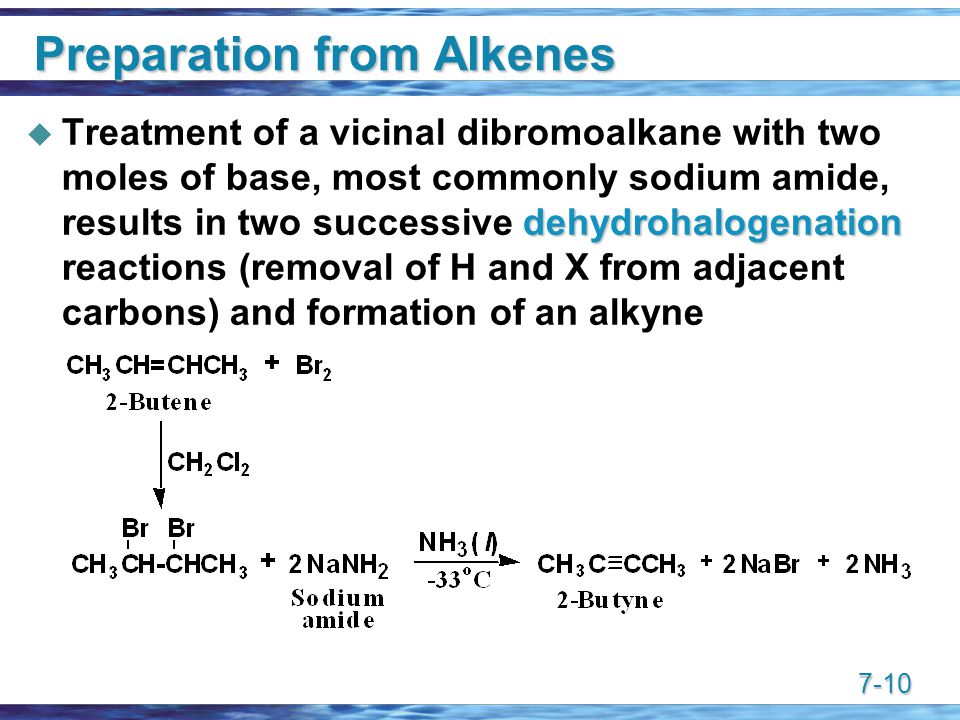 7-10 Preparation from Alkenes dehydrohalogenation  Treatment of a vicinal dibromoalkane with two moles of base, most commonly sodium amide, results in two successive dehydrohalogenation reactions (removal of H and X from adjacent carbons) and formation of an alkyne