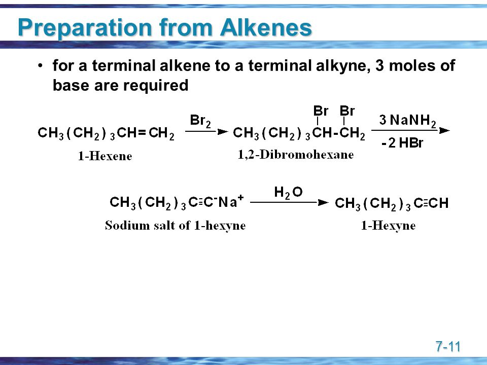 7-11 Preparation from Alkenes for a terminal alkene to a terminal alkyne, 3 moles of base are required
