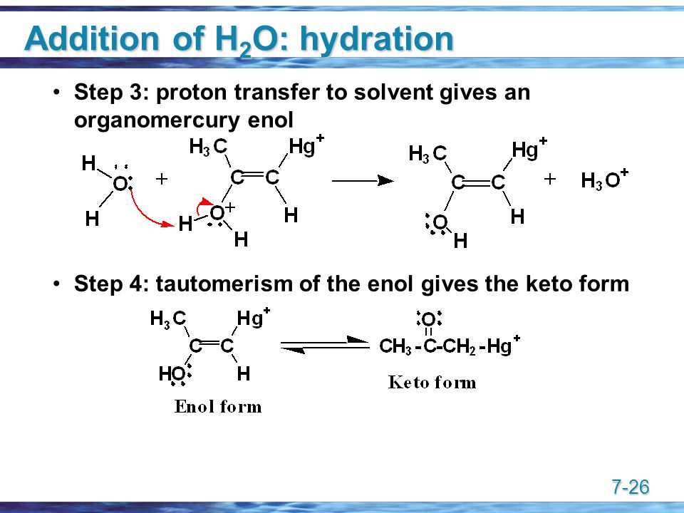 7-26 Addition of H 2 O: hydration Step 3: proton transfer to solvent gives an organomercury enol Step 4: tautomerism of the enol gives the keto form