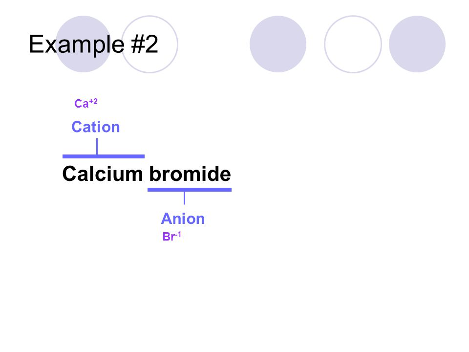 Example #2 Calcium bromide Cation Anion Ca +2 Br -1