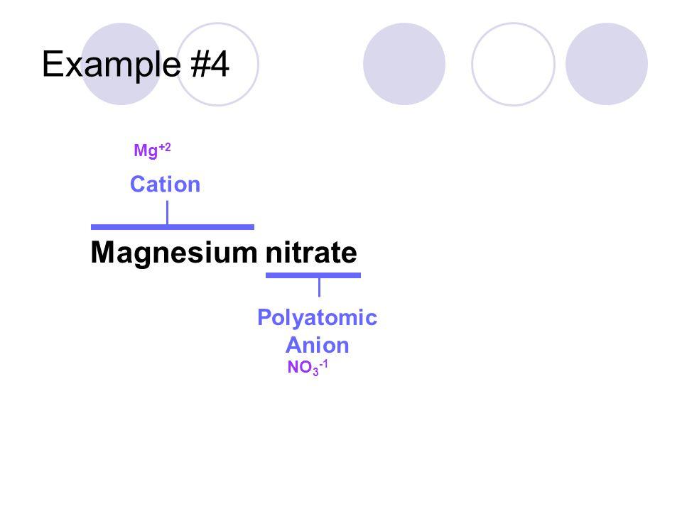 Example #4 Magnesium nitrate Cation Polyatomic Anion Mg +2 NO 3 -1