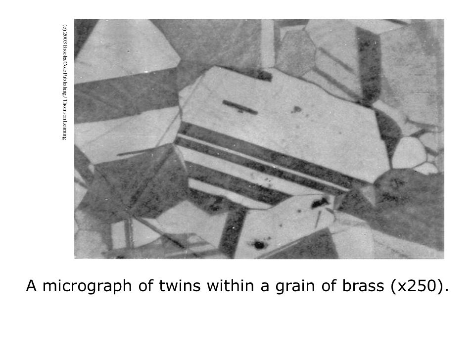 (c) 2003 Brooks/Cole Publishing / Thomson Learning A micrograph of twins within a grain of brass (x250).