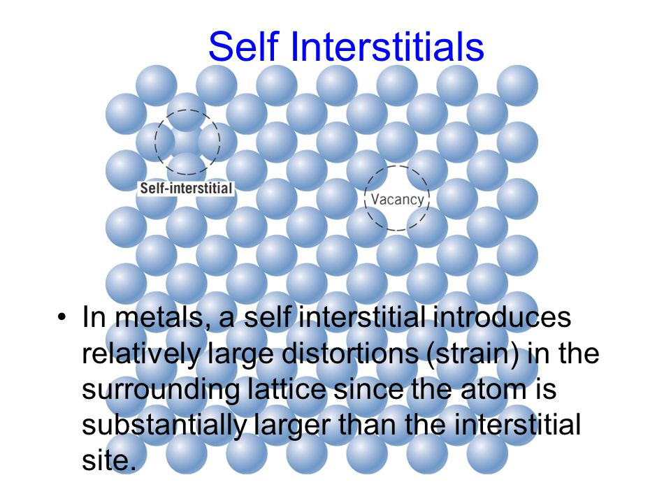 In metals, a self interstitial introduces relatively large distortions (strain) in the surrounding lattice since the atom is substantially larger than