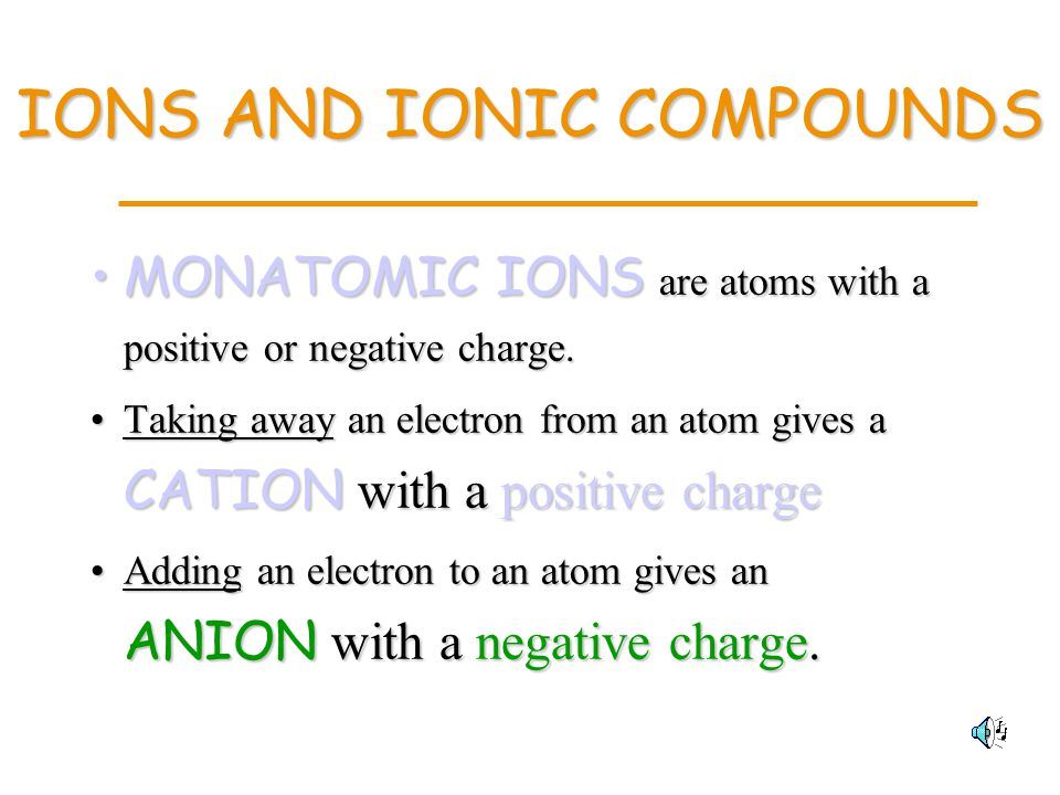 IONS AND IONIC COMPOUNDS MONATOMIC IONS are atoms with a positive or negative charge.MONATOMIC IONS are atoms with a positive or negative charge.
