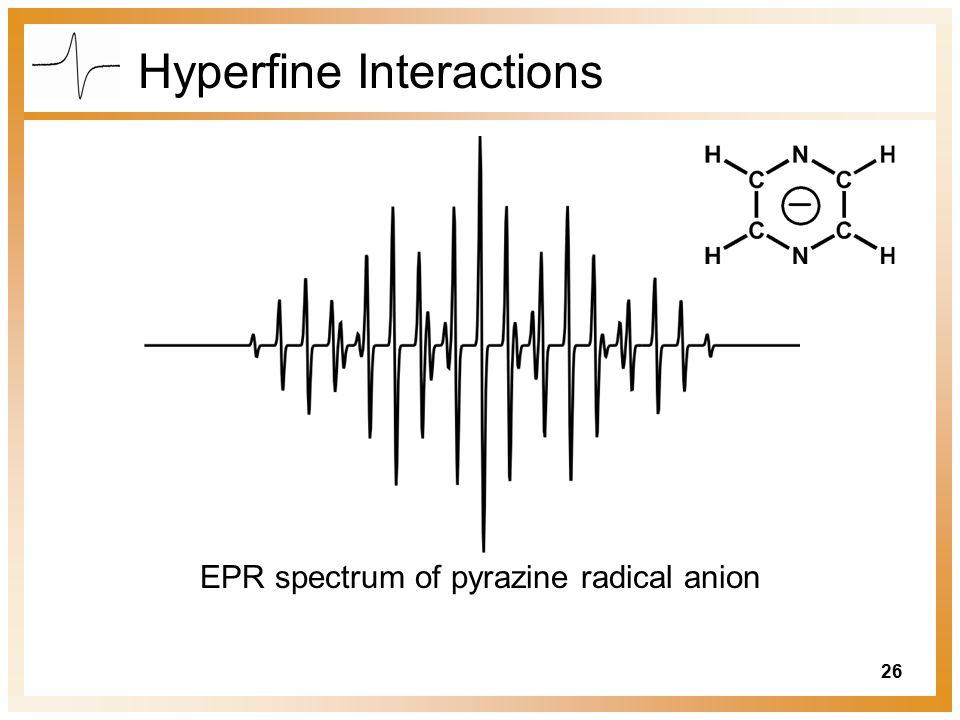 26 Hyperfine Interactions EPR spectrum of pyrazine radical anion