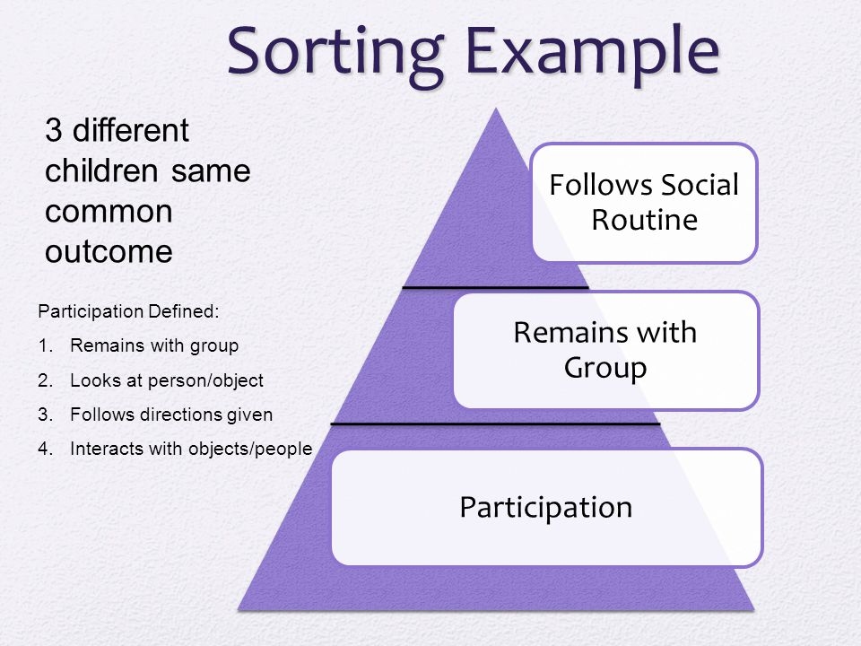 Sorting Example Follows Social Routine Remains with Group Participation 3 different children same common outcome Participation Defined: 1.Remains with group 2.Looks at person/object 3.Follows directions given 4.Interacts with objects/people