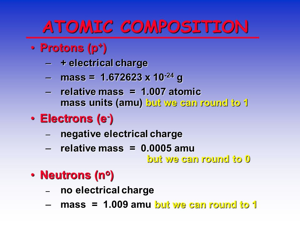 ATOM COMPOSITION protons and neutrons in the nucleus.protons and neutrons in the nucleus.