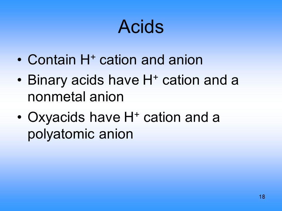 18 Acids Contain H + cation and anion Binary acids have H + cation and a nonmetal anion Oxyacids have H + cation and a polyatomic anion