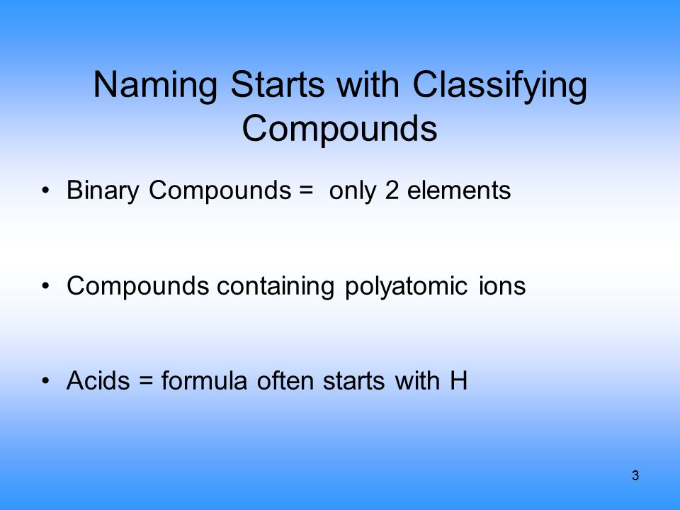 3 Naming Starts with Classifying Compounds Binary Compounds = only 2 elements Compounds containing polyatomic ions Acids = formula often starts with H