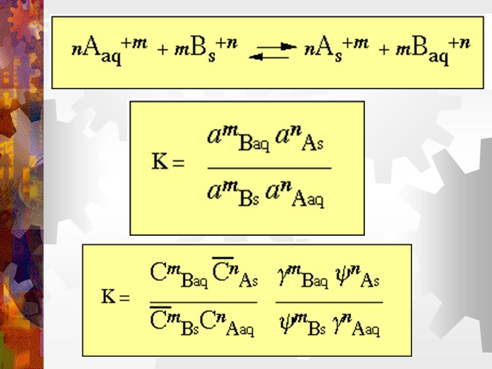Ion exchange of monovalent cations: (assume  = 1) For most solutions  A =  B