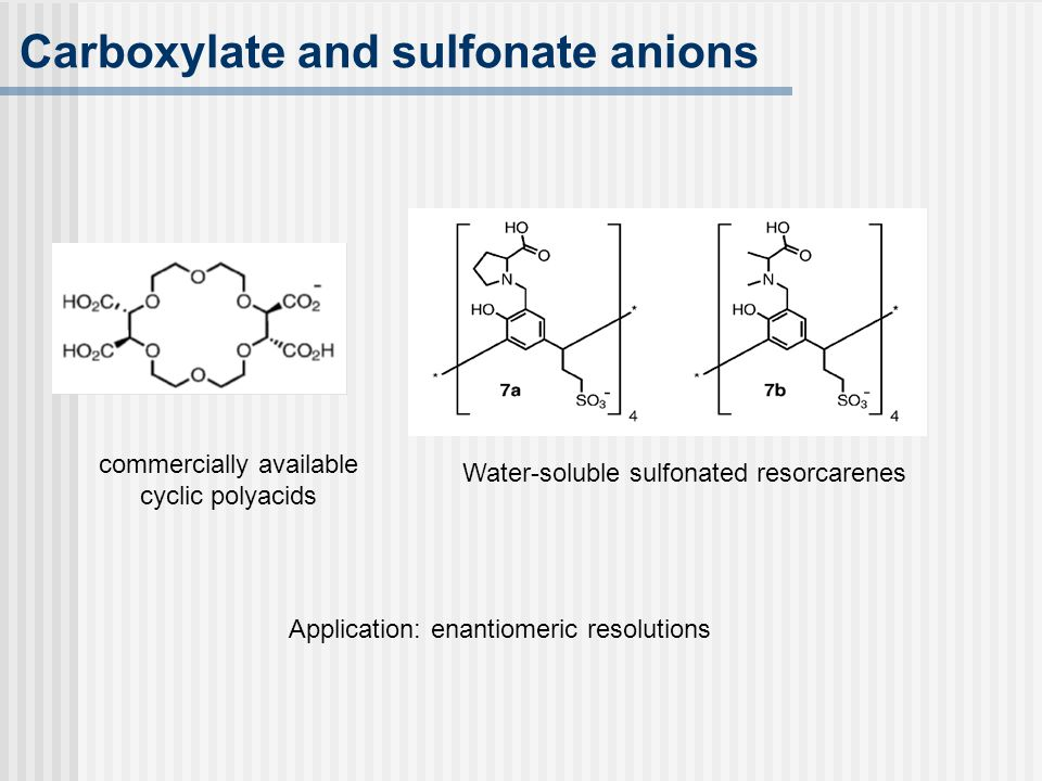 Carboxylate and sulfonate anions Application: enantiomeric resolutions Water-soluble sulfonated resorcarenes commercially available cyclic polyacids