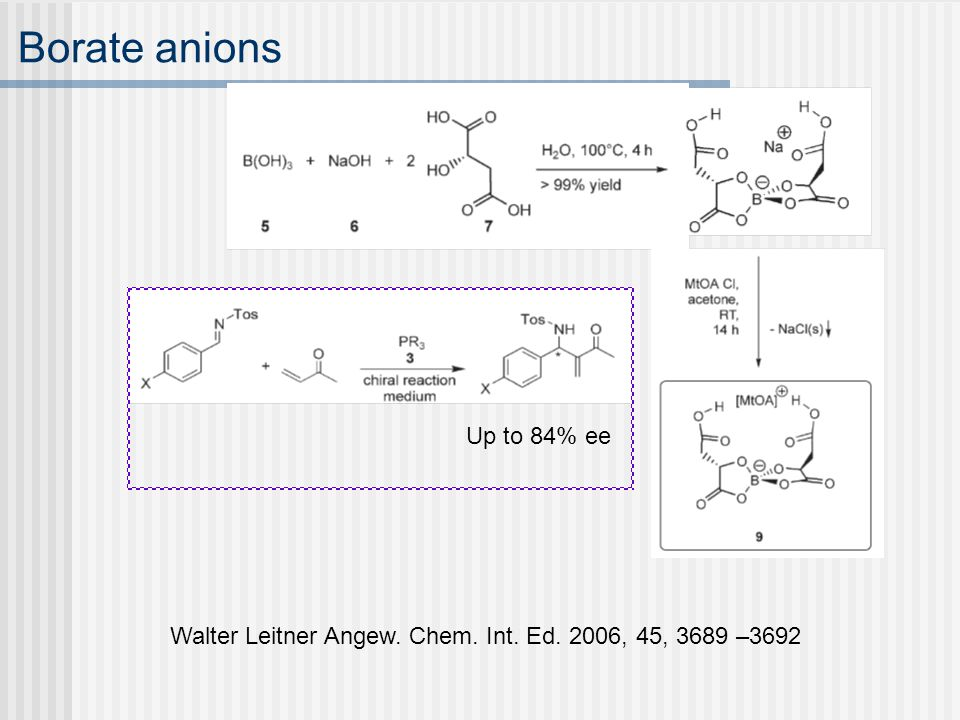 Borate anions Up to 84% ee Walter Leitner Angew. Chem. Int. Ed. 2006, 45, 3689 –3692