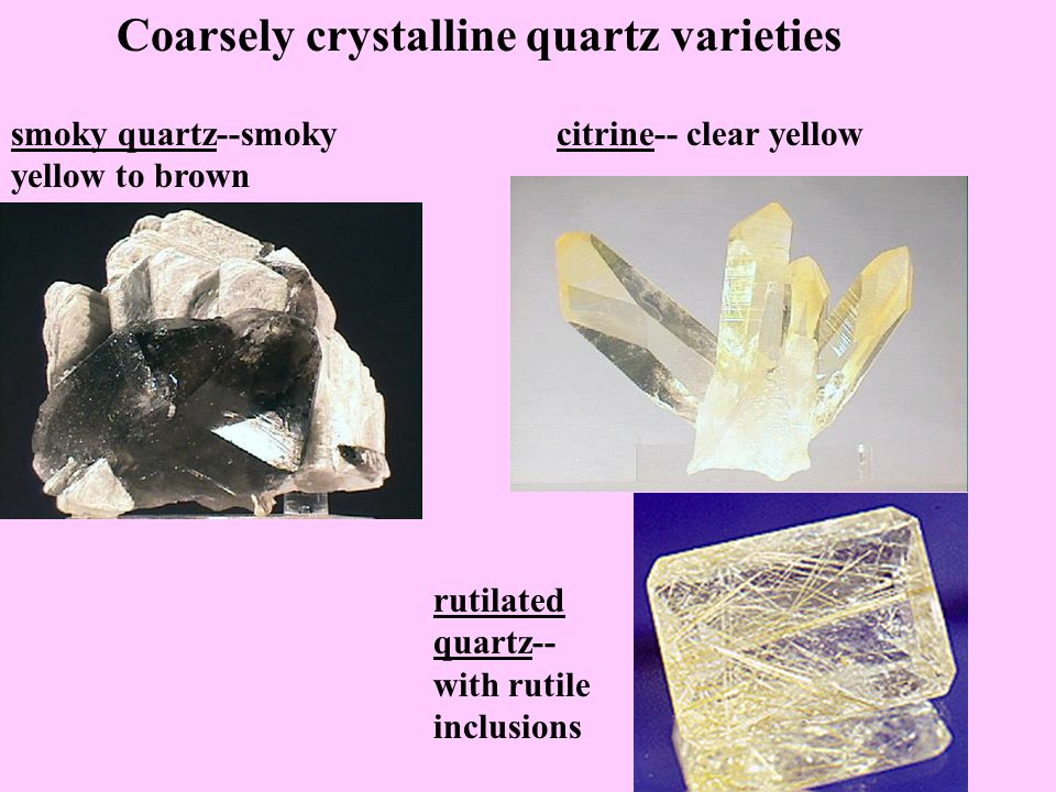 Coarsely crystalline quartz varieties rock crystals--colorless amethyst--purple rose quartz--rose