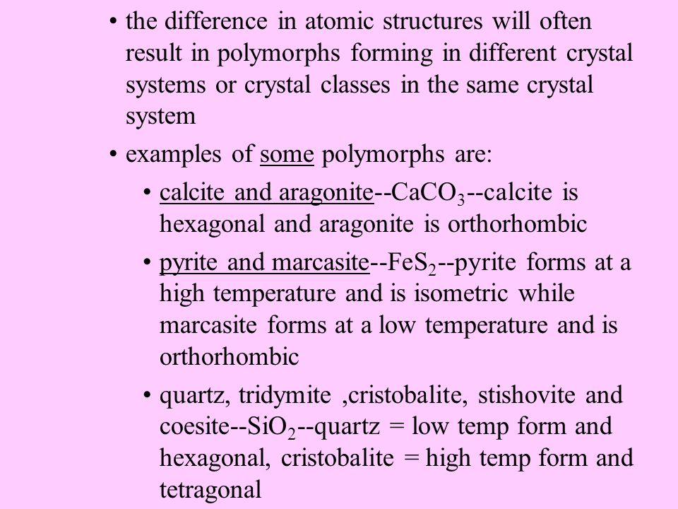 isomorphism can exist between minerals outside the same class--these minerals are isomorphs (isostructural) but do not belong to the same isomorphic group--an example is NaNO 3 nitratite which is isostructural with minerals in the calcite group 2.