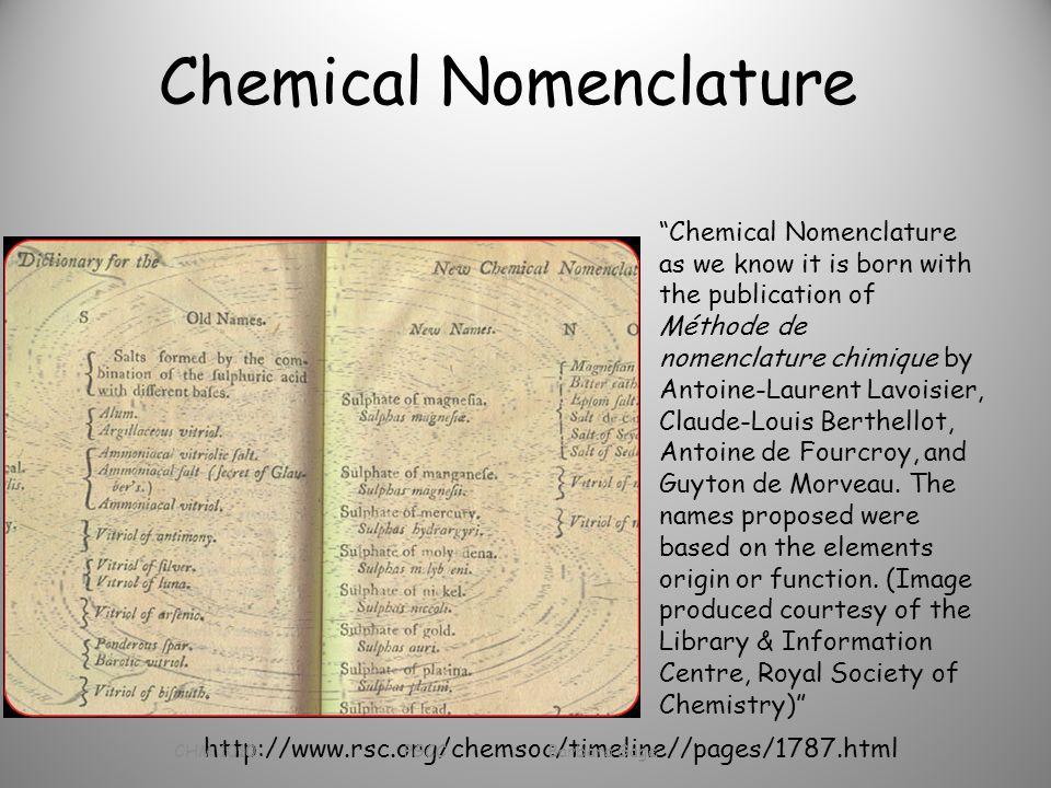 """Chemical Nomenclature """"Chemical Nomenclature as we know it is born with the publication of Méthode de nomenclature chimique by Antoine-Laurent Lavoisi"""