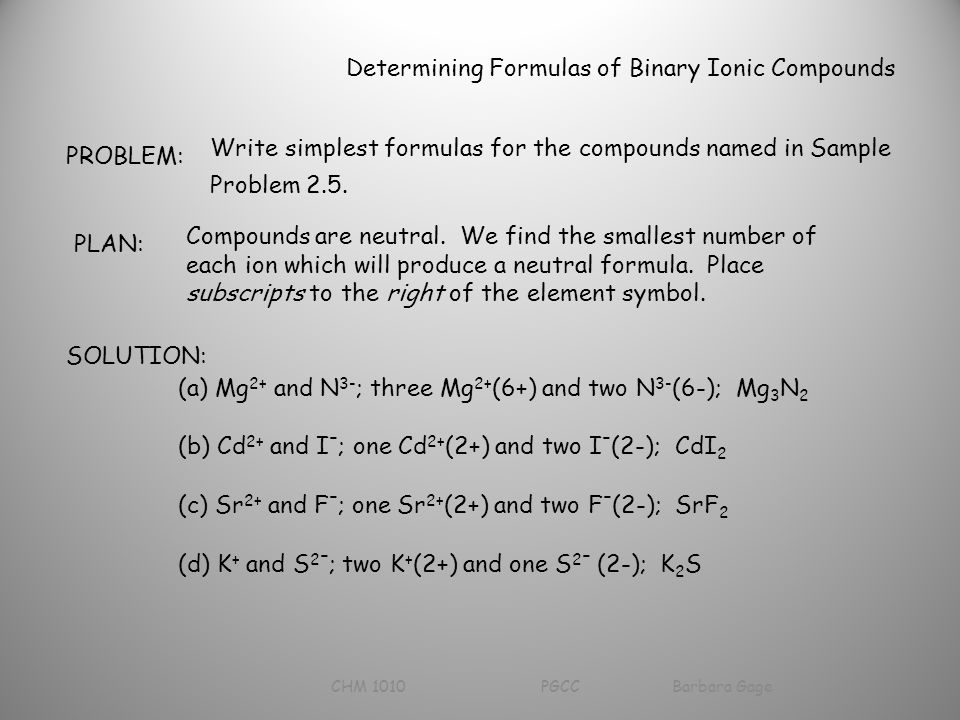 Determining Formulas of Binary Ionic Compounds PROBLEM: Write simplest formulas for the compounds named in Sample Problem 2.5.