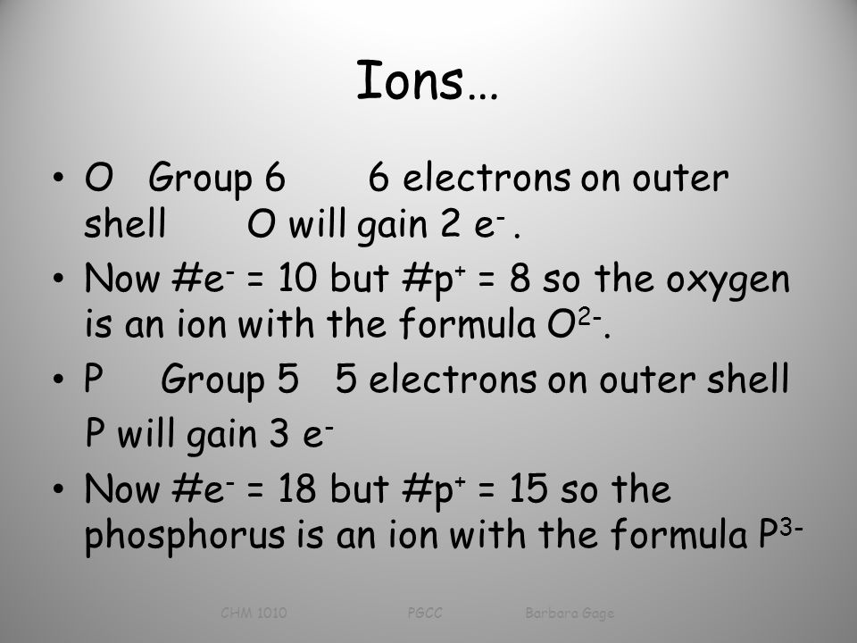 Ions… O Group 6 6 electrons on outer shell O will gain 2 e -.