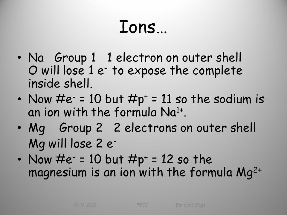 Ions… Na Group 1 1 electron on outer shell O will lose 1 e - to expose the complete inside shell.