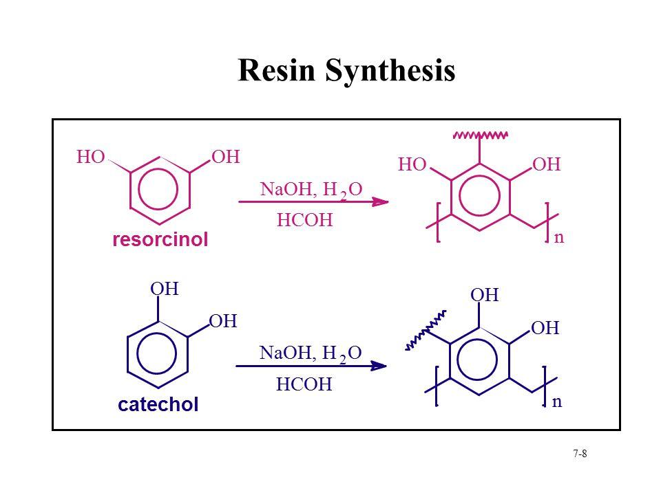 7-8 Resin Synthesis aa a resorcinol catechol HOOH HCOH NaOH, H 2 O HOOH n HCOH NaOH, H 2 O OH n