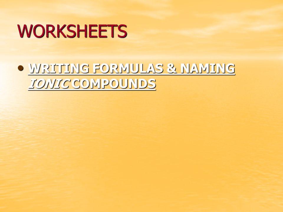 WORKSHEETS WRITING FORMULAS & NAMING IONIC COMPOUNDS WRITING FORMULAS & NAMING IONIC COMPOUNDS