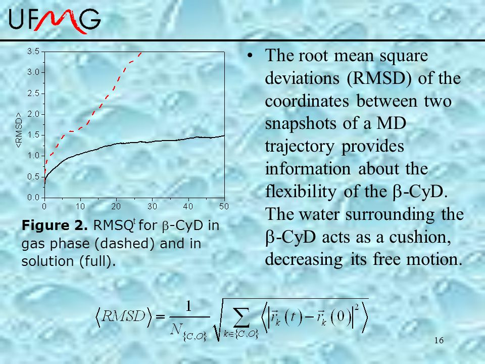 16 The root mean square deviations (RMSD) of the coordinates between two snapshots of a MD trajectory provides information about the flexibility of the  -CyD.