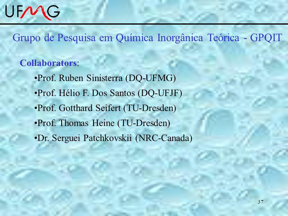 37 Grupo de Pesquisa em Química Inorgânica Teórica - GPQIT Collaborators: Prof.