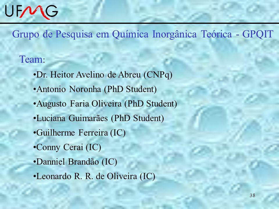 38 Team : Dr. Heitor Avelino de Abreu (CNPq) Antonio Noronha (PhD Student) Augusto Faria Oliveira (PhD Student) Luciana Guimarães (PhD Student) Guilhe