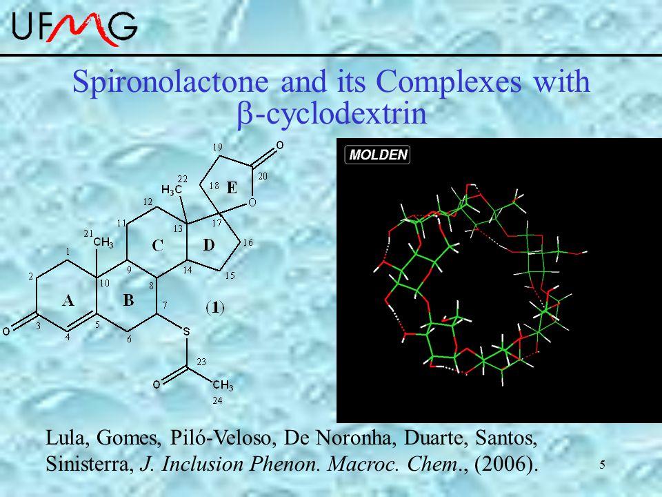 5 Spironolactone and its Complexes with  -cyclodextrin Lula, Gomes, Piló-Veloso, De Noronha, Duarte, Santos, Sinisterra, J. Inclusion Phenon. Macroc.