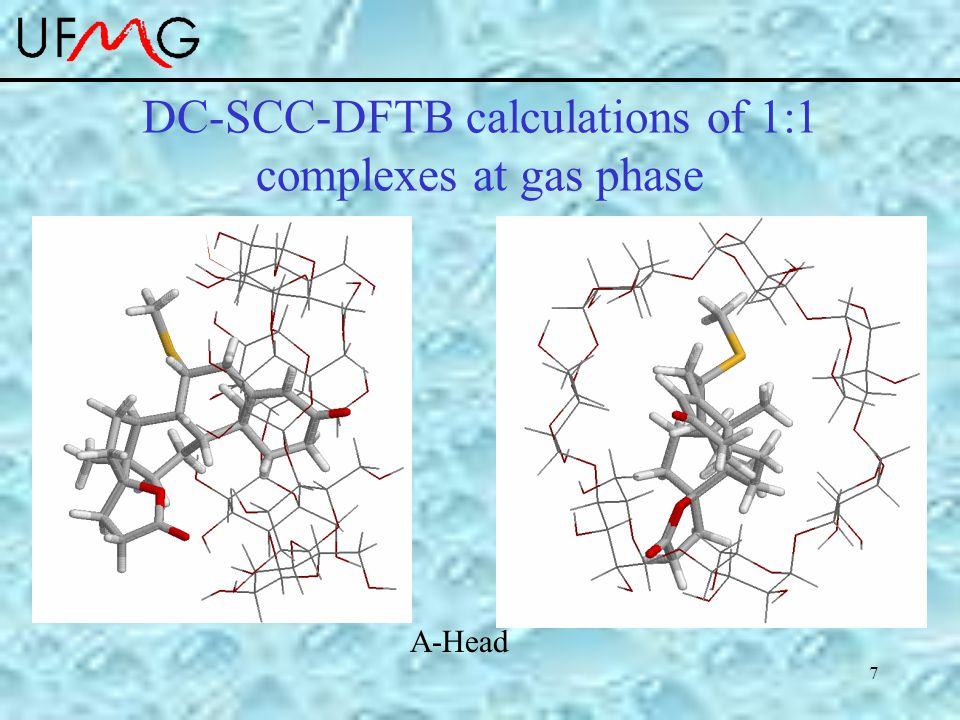 7 DC-SCC-DFTB calculations of 1:1 complexes at gas phase A-Head