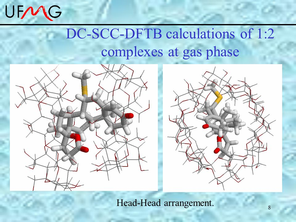 8 DC-SCC-DFTB calculations of 1:2 complexes at gas phase Head-Head arrangement.