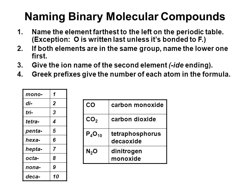 Naming Binary Molecular Compounds 1.Name the element farthest to the left on the periodic table.