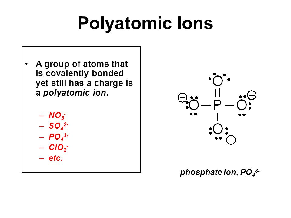 A group of atoms that is covalently bonded yet still has a charge is a polyatomic ion.