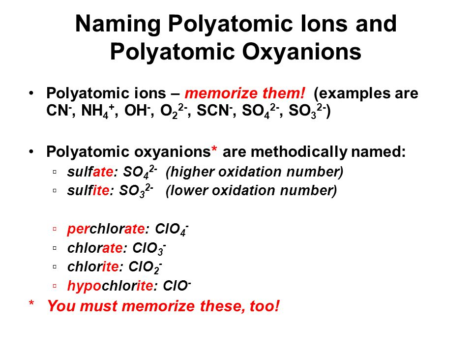 Naming Polyatomic Ions and Polyatomic Oxyanions Polyatomic ions – memorize them.