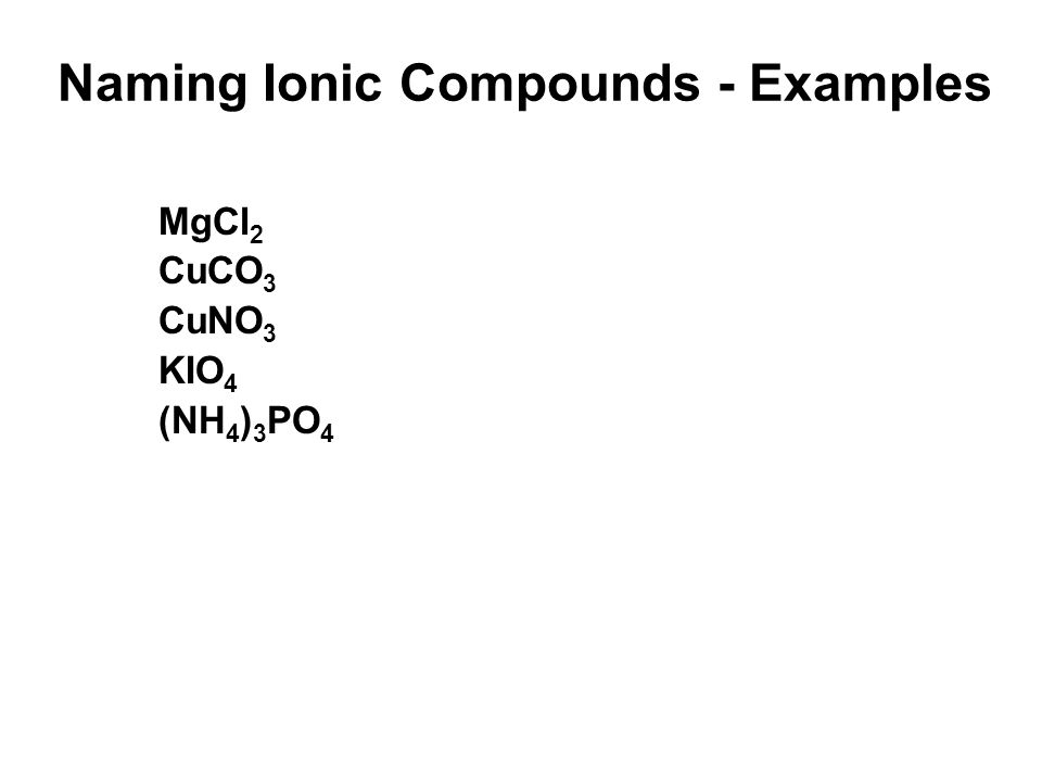 Naming Ionic Compounds - Examples MgCl 2 CuCO 3 CuNO 3 KIO 4 (NH 4 ) 3 PO 4