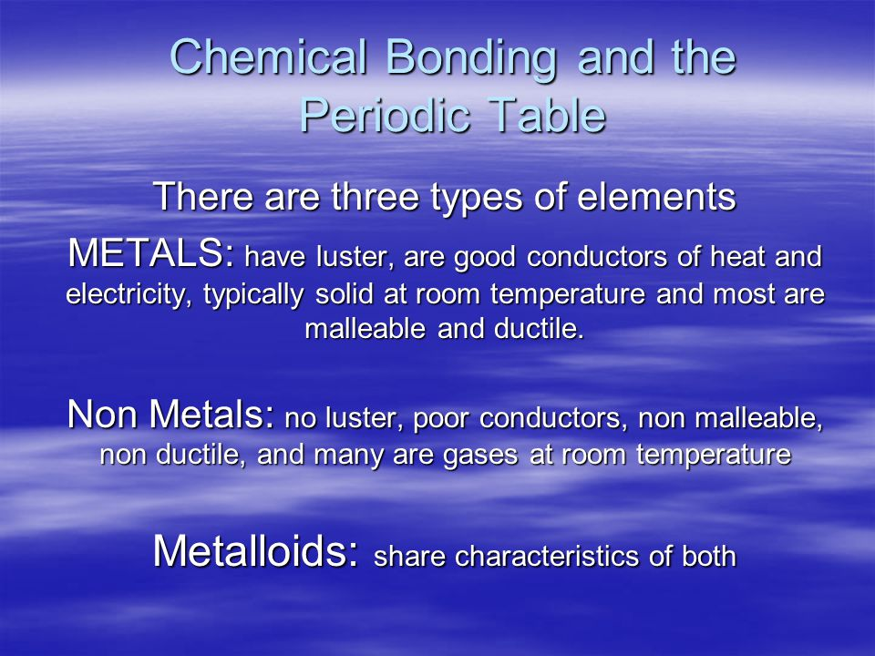 Chemical Bonding and the Periodic Table There are three types of elements METALS: have luster, are good conductors of heat and electricity, typically solid at room temperature and most are malleable and ductile.