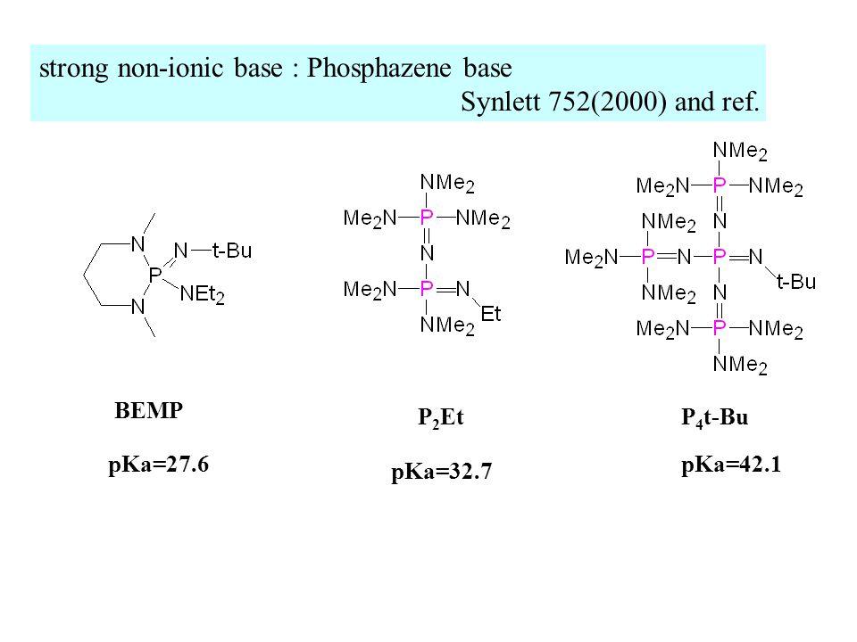strong non-ionic base : Phosphazene base Synlett 752(2000) and ref.