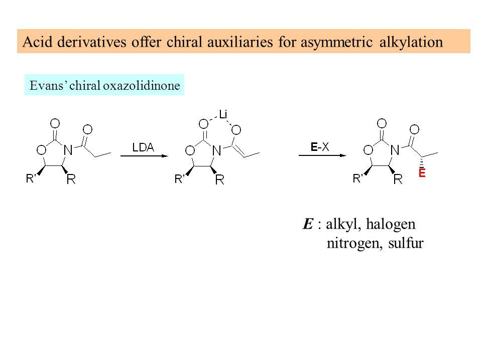 Acid derivatives offer chiral auxiliaries for asymmetric alkylation Evans' chiral oxazolidinone E : alkyl, halogen nitrogen, sulfur