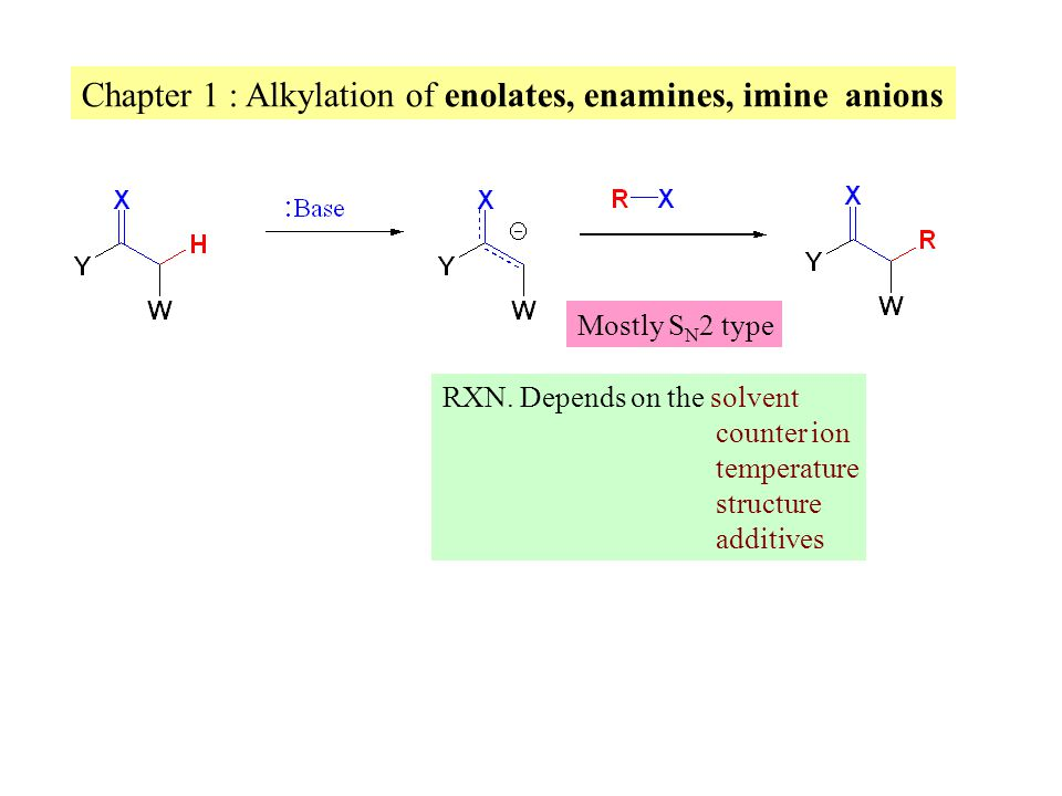 Chapter 1 : Alkylation of enolates, enamines, imine anions Mostly S N 2 type RXN.