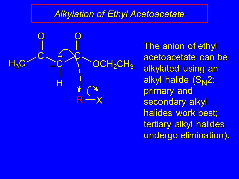 Alkylation of Ethyl Acetoacetate C C C OCH 2 CH 3 HOO – H3CH3CH3CH3C The anion of ethyl acetoacetate can be alkylated using an alkyl halide (S N 2: primary and secondary alkyl halides work best; tertiary alkyl halides undergo elimination).