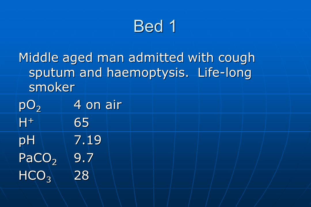 Bed 1 Middle aged man admitted with cough sputum and haemoptysis.