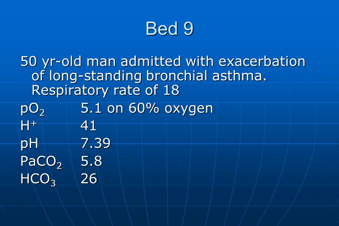 Bed 9 50 yr-old man admitted with exacerbation of long-standing bronchial asthma.