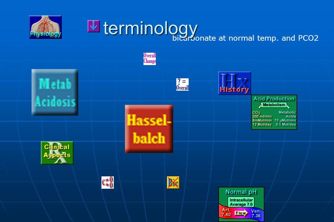 bicarbonate at normal temp. and PCO2 terminology