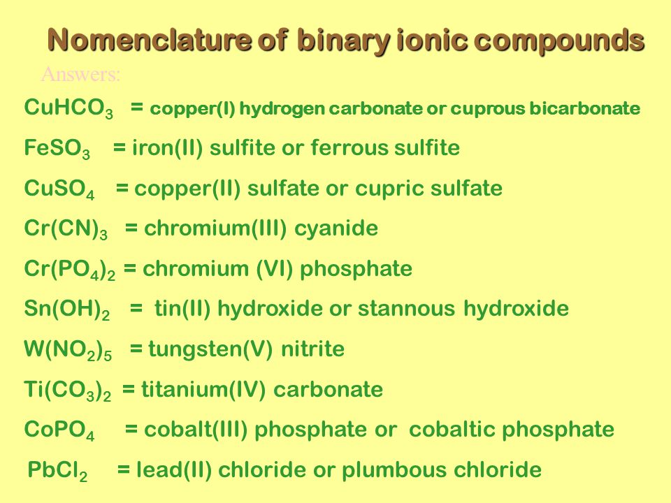 Nomenclature of binary ionic compounds CuHCO 3 = copper(I) hydrogen carbonate or cuprous bicarbonate FeSO 3 = iron(II) sulfite or ferrous sulfite CuSO 4 = copper(II) sulfate or cupric sulfate Cr(CN) 3 = chromium(III) cyanide Cr(PO 4 ) 2 = chromium (VI) phosphate Sn(OH) 2 = tin(II) hydroxide or stannous hydroxide W(NO 2 ) 5 = tungsten(V) nitrite Ti(CO 3 ) 2 = titanium(IV) carbonate CoPO 4 = cobalt(III) phosphate or cobaltic phosphate PbCl 2 = lead(II) chloride or plumbous chloride Answers: