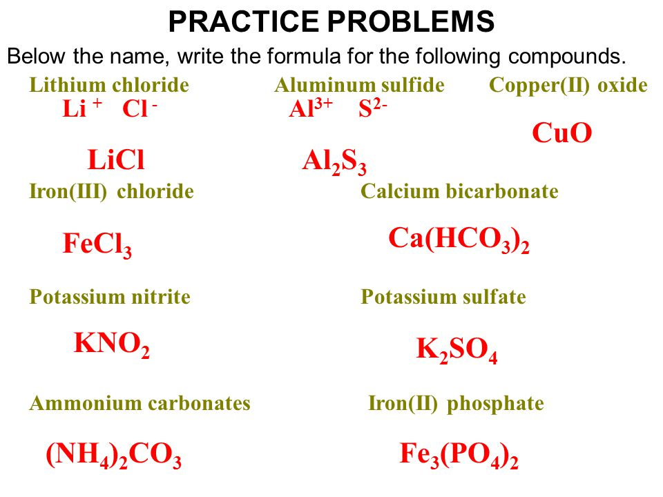 PRACTICE PROBLEMS Below the name, write the formula for the following compounds.